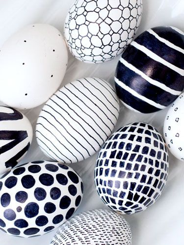 black and white sharpie eggs