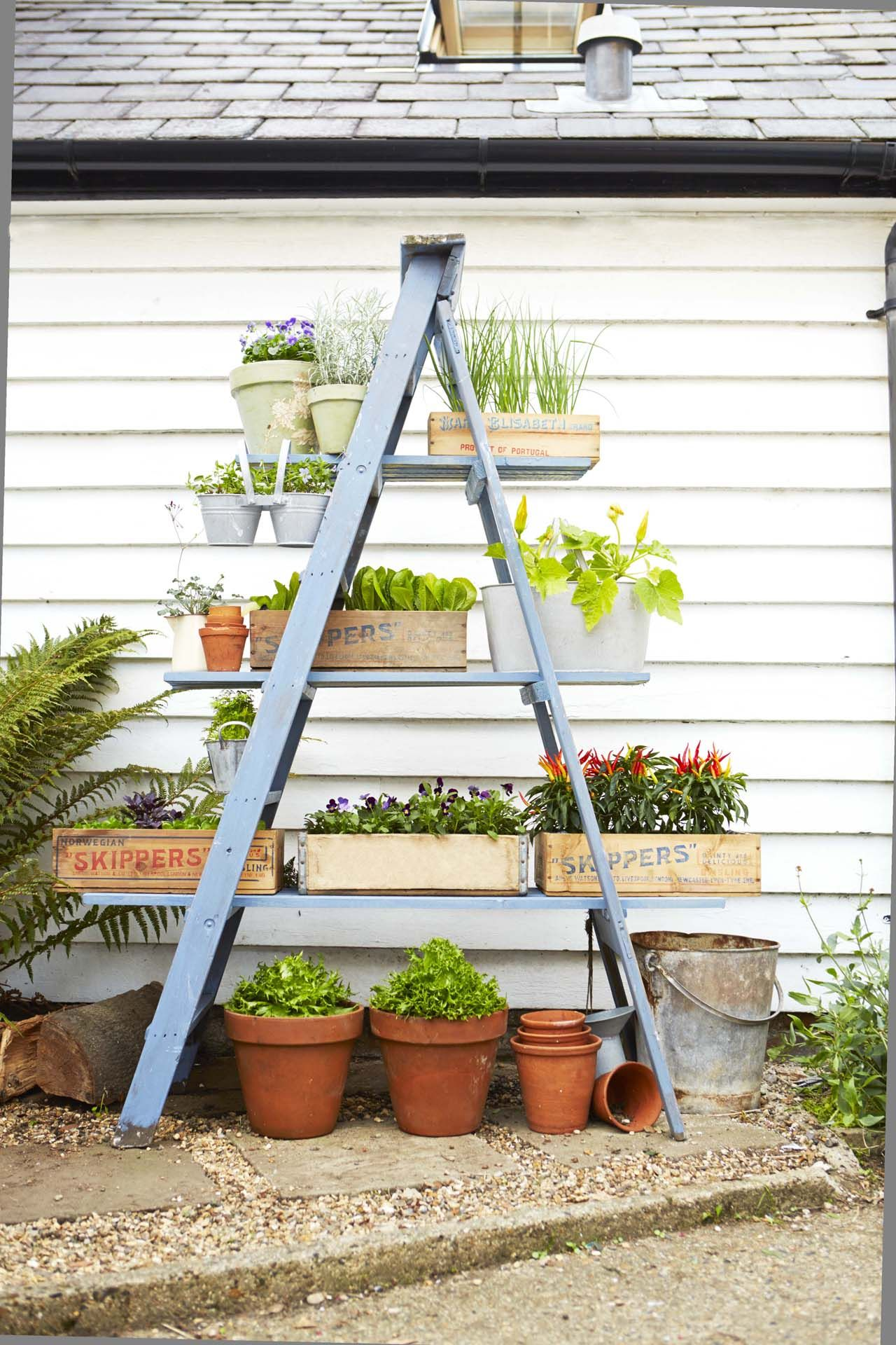 Step By Step Instructions To Diy A Ladder Planter Stand