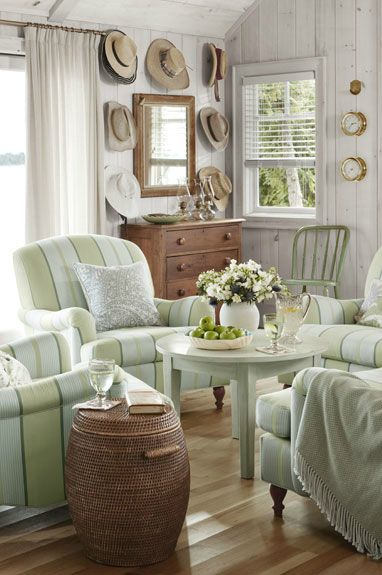 Stylish Living Room Decorating Designs, Cottage Style Living Room With Leather Couch