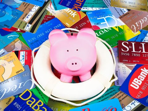 piggy bank with credit cards