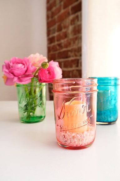 Mason Jar Craft - Colored Glass