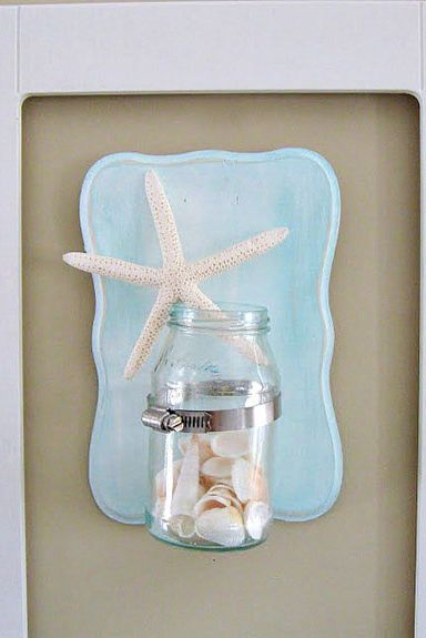 Mason Jar Craft - Seashell Sconce