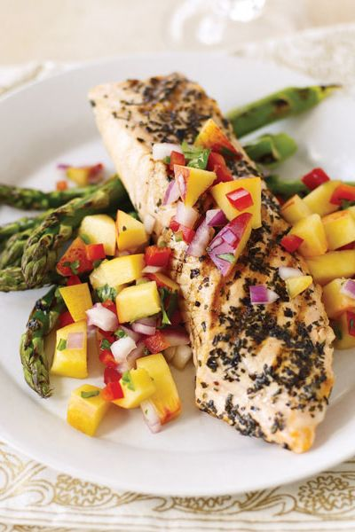 tarragon rubbed salmon with nectarine salsa