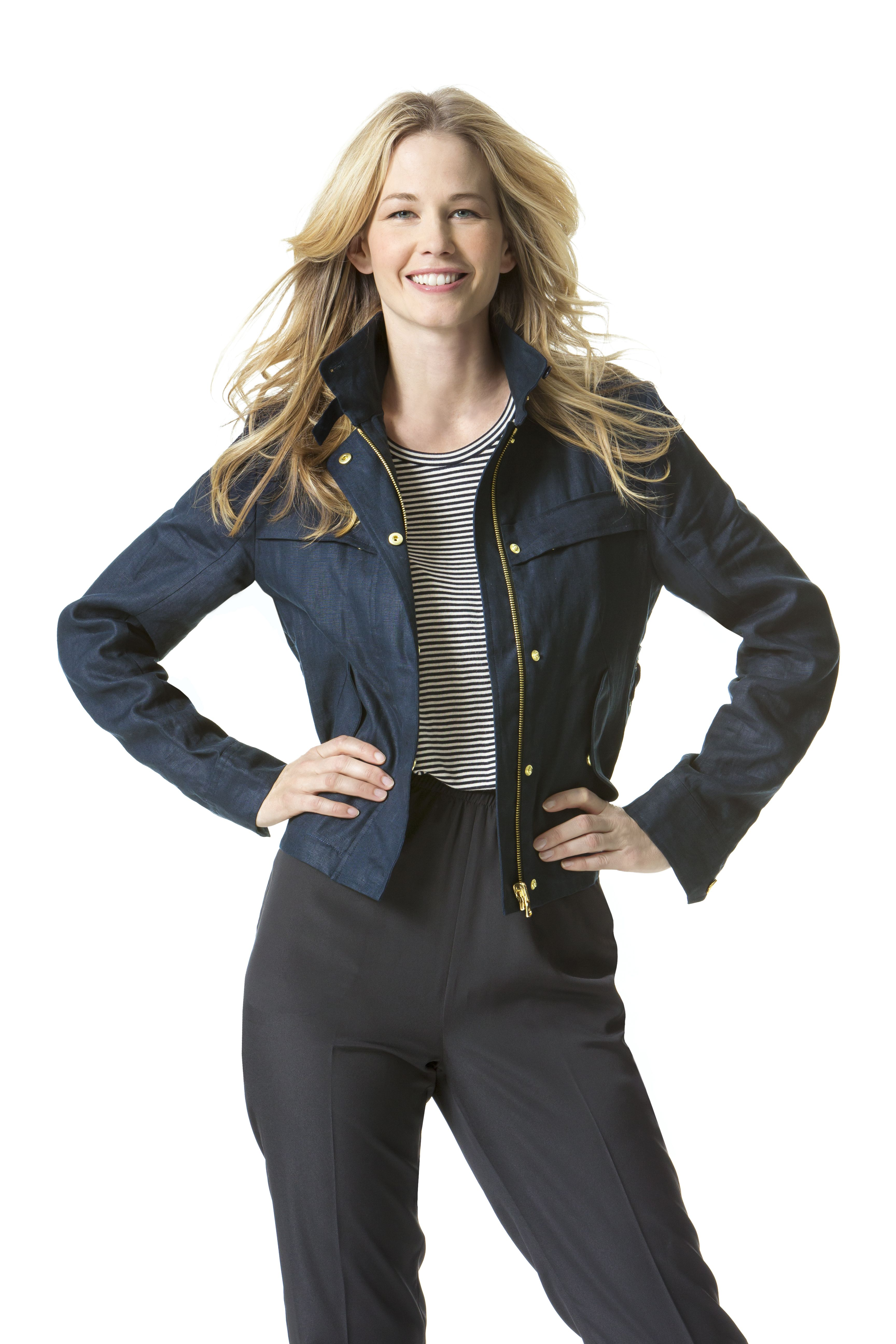 navy jacket and black pants