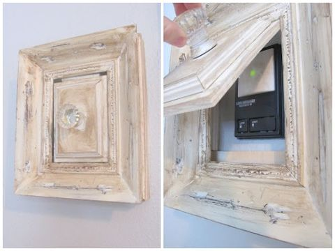 Wall, Rectangle, Molding, Wood stain, Switch, Plaster, Paint,
