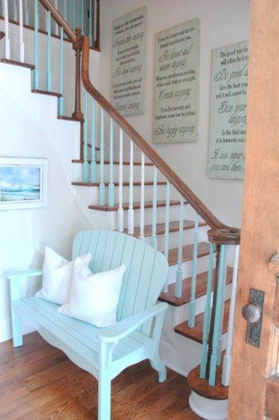 Stairs, Wood, Blue, Hardwood, Brown, Property, Room, Floor, Wood stain, Wall,
