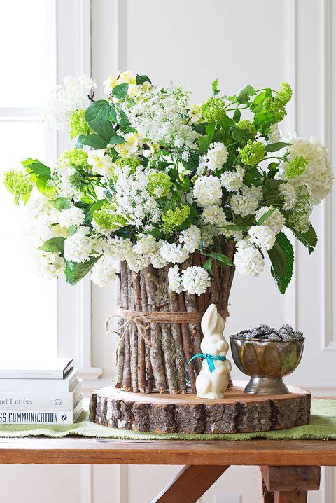 Easter Decorations Flower Arrangement with Wood Vase