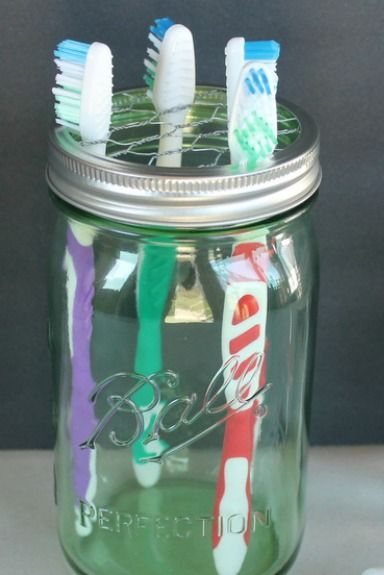 Mason Jar Crafts - Toothbrush Holder