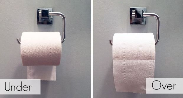 Toilet paper on top or bottom