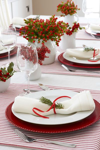 40 diy christmas table settings and decorations - Simple christmas table settings ...