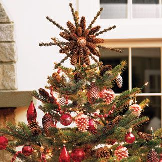 pinecone tree topper ornament - Pine Cone Christmas Tree Decorations