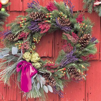 Christmas or holiday wreath decorated with aromatic dried plants