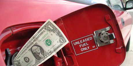 Money stuck in a gas tank of a car.