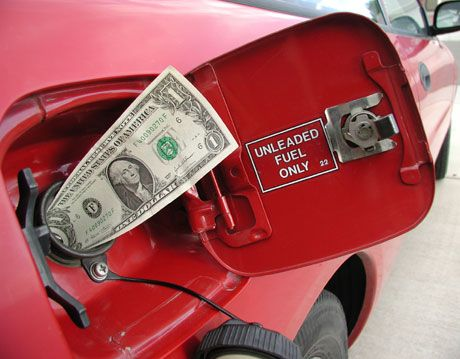 Money stuck in a gas tank of a car.