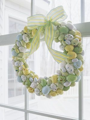 Easter Decorations Egg Candy on Pastel Wreath with Ribbon
