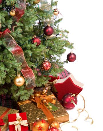 Christmas tree with gifts.