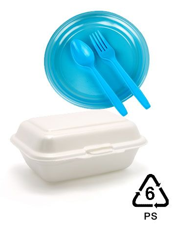 recycling symbols number 6 for plastics, ps polystyrene plastic