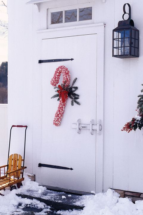 Christmas Door Decorations - Candy-Cane Wreath