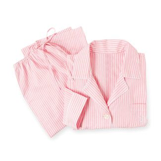 pink and white striped pajamas