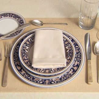 Serveware, Dishware, Tableware, Plate, Cutlery, Napkin, Porcelain, Kitchen utensil, Tablecloth, Glass,