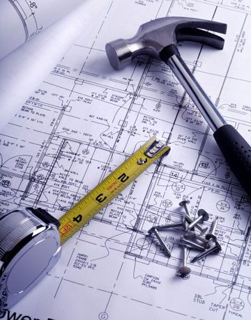 tools and plans, hammer, nails, measuring tape