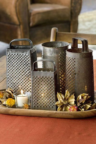 Thanksgiving Centerpieces - Cheese Graters Candle