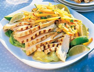 curried chicken with mango and cantaloupe slaw