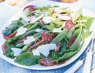 sopressata and roma bean salad with pecorino cheese