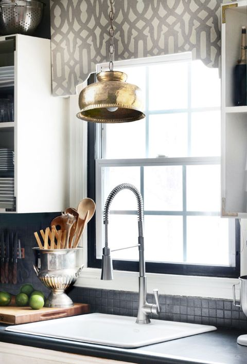 Room, Interior design, Interior design, Light fixture, Brass, Shelving, Bronze, Lamp, Shelf, Produce,