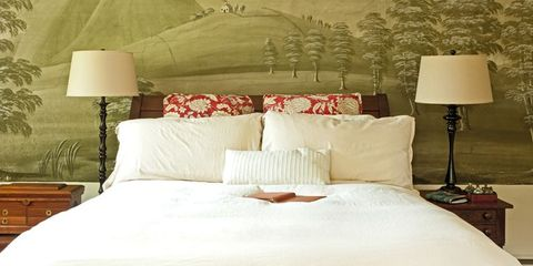 Bed, Room, Lighting, Lampshade, Interior design, Bedding, Wall, Lamp, Textile, Bedroom,
