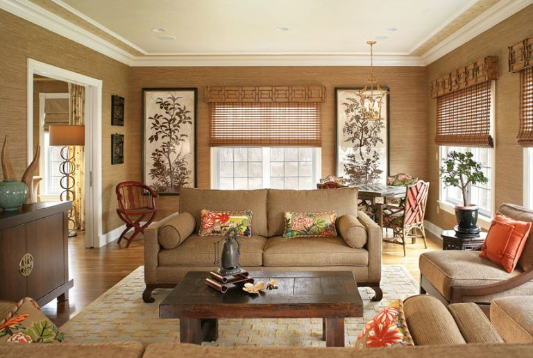 brown living room with natural accent
