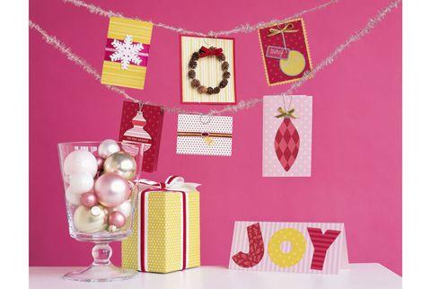 christmas card craft display with tinsel