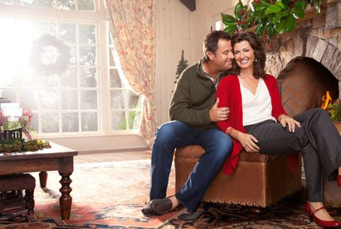 amy grant and vince gill in front of fireplace - Amy Grant Home For Christmas