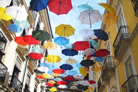 floating colorful umbrellas