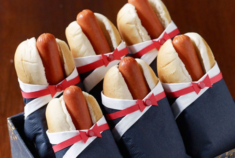 hot dogs with bow ties