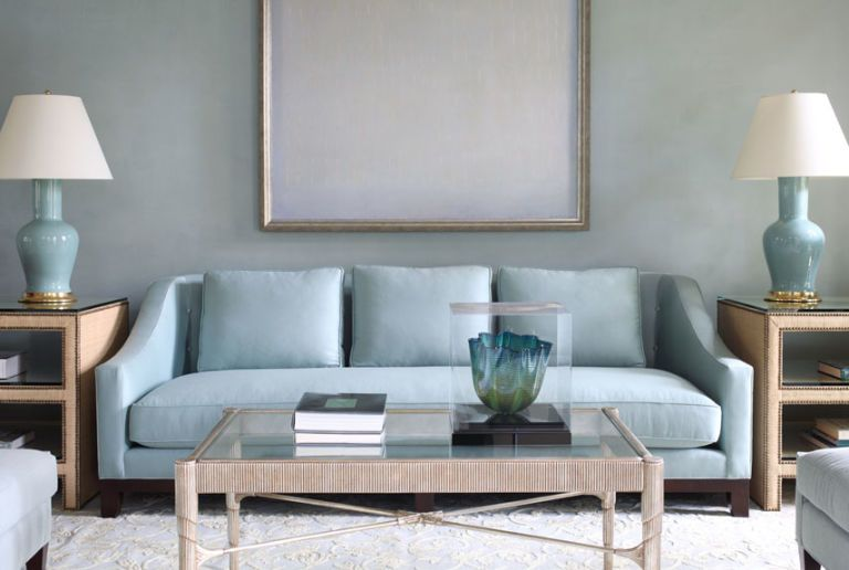 living room with light blue sofa and l&s and glass table & Blue Rooms - Decorating with Blue