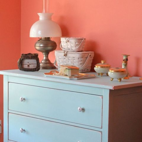 Wood, Serveware, Drawer, Chest of drawers, Cabinetry, Porcelain, Peach, Dresser, Dishware, Teal,