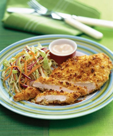 double dipped potato chip chicken with quick slaw
