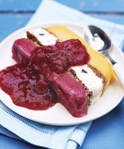 sorbet terrine with plum compote