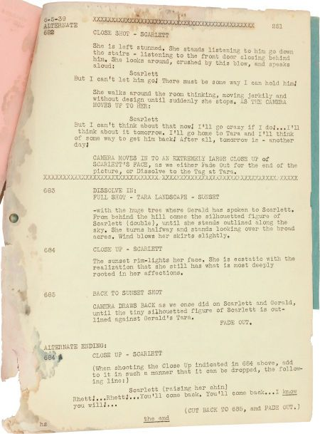 Gone With The Wind Alternate Ending Gone With The Wind Script For Sale