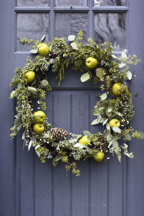 mixed greenery wreath