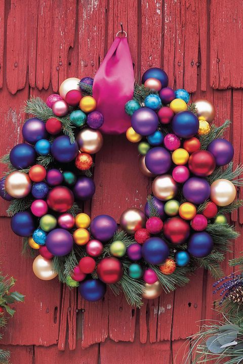 holiday wreath decorated with glass balls