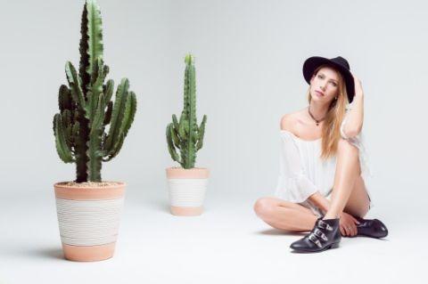Hat, Shoe, Headgear, Terrestrial plant, Sun hat, Knee, Flowerpot, Cactus, Fedora, Houseplant,
