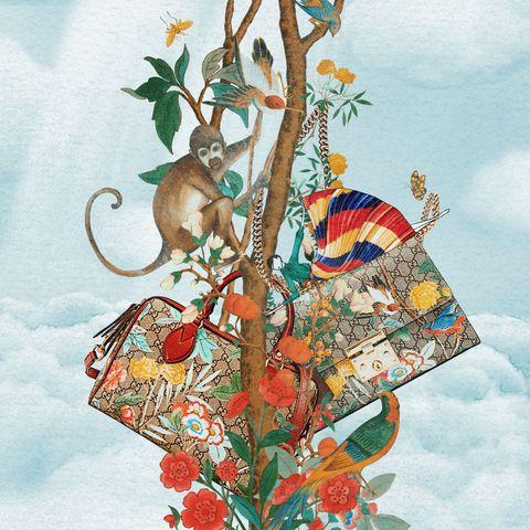 <ul> <li>L'artista che vive tra Korea e Australia, mette in risalto il motivo Tian in una sua illustrazione dove compare e scompare una figura femminile tra i rami di un albero e distesa su una borsa Padlock della maison Gucci.</li> </ul>