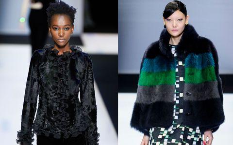 Hairstyle, Sleeve, Textile, Style, Pattern, Fashion model, Black hair, Fashion, Winter, Street fashion,