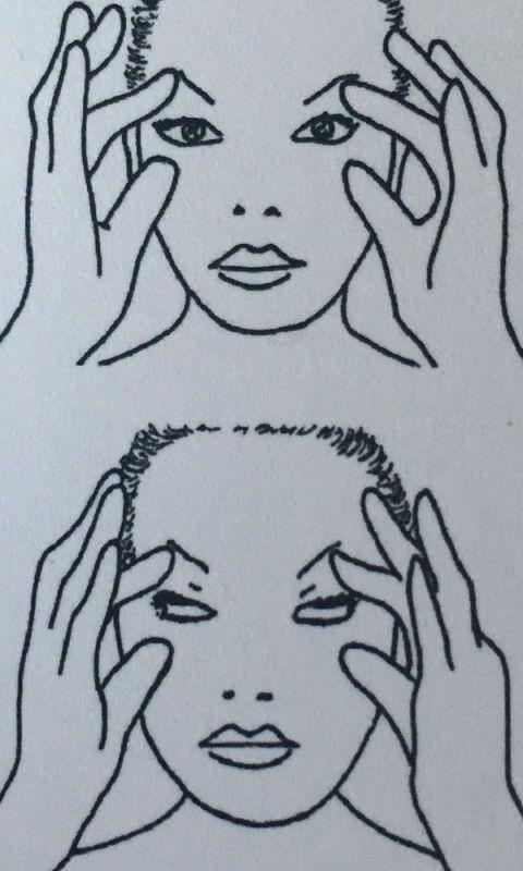 <ol> <li><strong>Posizionate gli indici sotto le sopracciglia</strong> e le falangi dei pollici sotto gli occhi. Chiudete contemporaneamente le palpebre superiori e inferiori facendo resistenza al movimento con le dita. Con le palpebre chiuse muovete gli occhi in alto e in basso.</li> </ol>