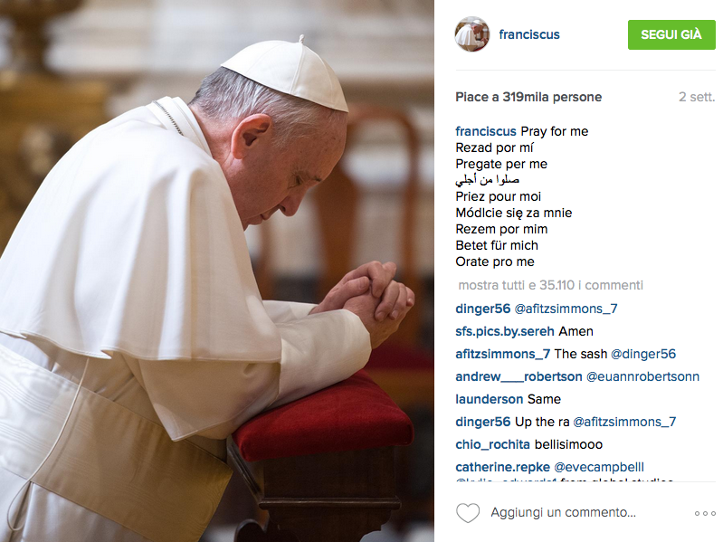 Papa Francesco primo post su Instagram