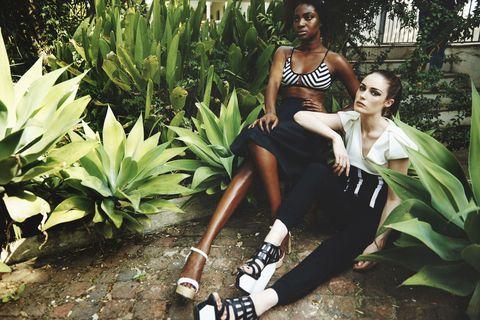 Nose, Leaf, Terrestrial plant, Knee, Sunglasses, Sock, Model, Perennial plant, Photo shoot, Fashion model,