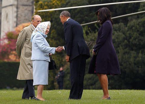 Barack e Michelle Obama incontrano la regina Elisabetta II e il principe Filippo al castello di Windsor