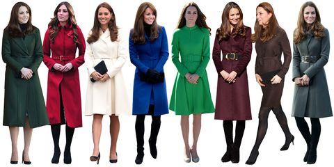 """<p>Un cappotto minimal, in genere di una tonalità preziosa e brillante, rappresenta la firma dello stile <a href=""""http://www.elle.com/it/magazine/personaggi/news/a194/kate-middleton/"""" target=""""_blank"""">Kate Middleton</a>. Focus on: il cappotto ha sempre una cintura in vita, molto semplice e minimal. </p>"""
